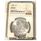 1887 Silver Morgan Dollar Graded MS63  Auction Estimate $30-$60 – Located Glassware