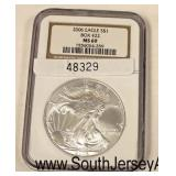 2006 Silver Eagle Dollar Graded MS69  Auction Estimate $30-$60 – Located Glassware