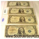 Sheet of (4) U.S. Silver Certificate $1.00 Bills  Auction Estimate $10-$20 – Located Glassware
