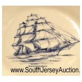 "65 Piece ""Lenox Special"" Ship Dinnerware Set with 8 Additional Ship Plates with Gold Trim  Auction"