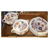 Box Lot of Porcelain Plates and Cover Dishes  Auction Estimate $30-$80 – Located Glassware