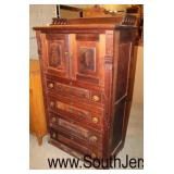 ANTIQUE Walnut Victorian Style 2 Door 4 Drawer High Chest with Gallery  Auction Estimate $100-$300