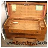"NICE ""West Branch Novelty Co."" Waterfall Walnut Inlaid and Banded 2 Drawer Lift Top Cedar Chest  Au"