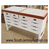 Marble Top Country Farm Style 16 Drawer Kitchen Island Buffet  Auction Estimate $300-$600 – Located