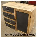 Industrial Style One Door 4 Drawer Metal and Wood Cabinet  Auction Estimate $100-$300 – Located Ins