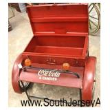 "Metal Decorator ""Coca Cola"" Lift Top Storage Cart  Auction Estimate $100-$300 – Located Inside"