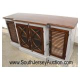 Country Farm Style Painted Grey and Natural Mahogany 4 Door Buffet  Auction Estimate $200-$400 – Lo