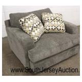 Like New 2 Piece Grey Upholstered Sofa and Club Chair with Decorator Pillows – May be Offered Separ