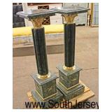 PAIR of Green Marble Pedestals with Applied Bronze  Auction Estimate $200-$400 –Located Inside