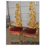 PAIR of Gold Painted Frame Leaf and Grape Carved French Style His and Her High Back Throne Chairs
