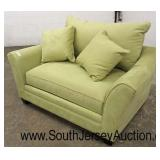 Upholstered Loveseat in the Hot Lime Color with Decorator Pillows  Auction Estimate $100-$400 – Loc