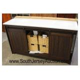 "NEW 60"" Marble Top Double Sink Rustic Style Bathroom Vanity with 2 Sliding Door and 4 Storage Baske"