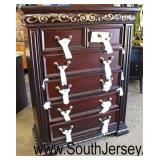 NEW Contemporary Carved Mahogany Finish 6 Drawer High Chest  Auction Estimate $200-$400 – Located I