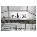 "NEW PAIR of COOL ""Nakasa Furniture"" Modern Design Hammered Aluminum and Mirrored Shelves Open Book"