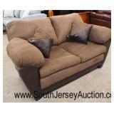 NEW Contemporary 2 Tone Brown Upholstered and Leather Loveseat with Decorator Pillows  Auction Esti