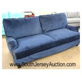 NEW Blue Velour Contemporary Sofa  Auction Estimate $300-$600 – Located Inside