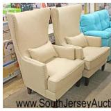 NEW PAIR of NICE Tan Upholstered High Back Arm Chairs with Decorator Pillows  Auction Estimate $300