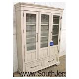 "NEW ""Klaussner Furniture TY Collection"" Country Farm Style Distressed 2 Door 2 Drawer Lighted and D"
