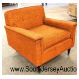 Mid Century Modern Orange Upholstered Club Arm Chairs  Auction Estimate $100-$300 each – Located In