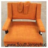 Mid Century Modern Orange Upholstered Arm Chairs with Arm Covers  Auction Estimate $100-$300 each –