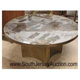 "RARE ""Philip and Kelvin LaVerne"" Mid Century Coffee Table in the patinated poly chrome bronze and pe"