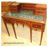 Burl Mahogany Inlaid Leather Top English Style Desk