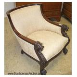 Mahogany Frame Lion Head Carved Upholstered Arm Chair