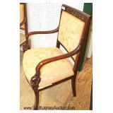 Mahogany Frame 3 Piece Upholstered Bird Carved Parlor Set