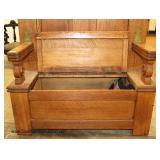 ANTIQUE Oak Carved Hall Rack Bench