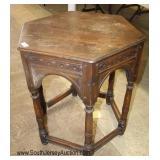 Oak Carved Octagon Stretcher Base Lamp Table