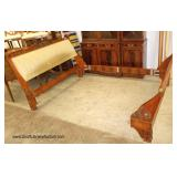 """Burl Mahogany and Upholstered """"John Widdicomb"""" Carved Queen Size Bed"""