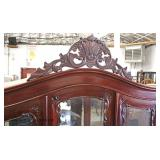 SOLID Mahogany Ball and Claw Carved 3 Door 3 Drawer China Display Cabinet with Mirror Back