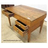 ANTIQUE Oak 3 Drawer Baker Table with Hand Forged Square Nails and Pegged