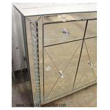 NEW Hollywood Style Mirrored Etched Glass 4 Door 3 Drawer Credenza with Bedazzled Hardware and Trim