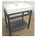 """NEW 30"""" Marble Top Industrial Style Metal Base Bathroom Vanity"""