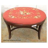 Needlepoint Mahogany Footstool