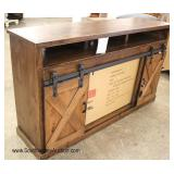 (2) NEW Barn Style Door Rustic Media Buffet with Fireplace