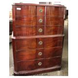 Burl Mahogany High Chest and Low Chest with Serpentine Fronts