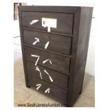 NEW 5 Drawer Antique Grey Style High Chest