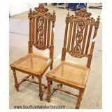 PAIR of ANTIQUE Highly Carved and Fancy Side Chairs