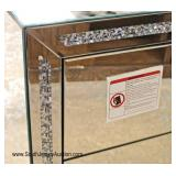 PAIR of NEW Hollywood Mirrored 3 Drawer Bachelor Chest with Bedazzled Trim and Hardware