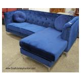 NEW Blue Velour Button Tufted Sofa Chaise