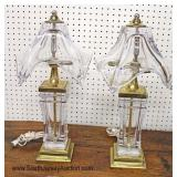 PAIR of NICE Leaded Crystal Heavy Lamps with Leaded Crystal Shades