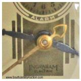 "VINTAGE ""Ingraham Electric"" Brass Ship Lamp Clock with Shade"