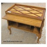 Mahogany 2 Tone Queen Anne Stand with Pull Out Tray