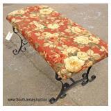 Metal Base Upholstered Fireplace Bench