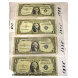 Sheet of 4 U.S. Silver Certificate Dollars