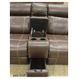 """NEW """"Coaster Furniture"""" Brown Leather Double Recliner with Drink Holders and Storage Drawer"""
