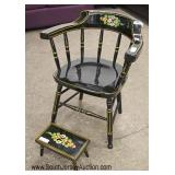"""Paint Decorated """"J.s. Ebersol"""" Chair and Small Stool"""