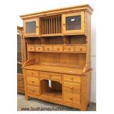 """NICE """"Vaughan-Bassett Furniture Company"""" Country 2 Piece SOLID Oak Hutch"""